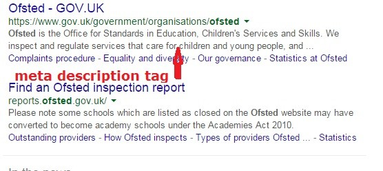 example of meta description using Ofsted